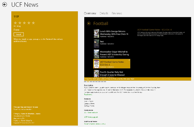 UCF News in the Windows 8 Store